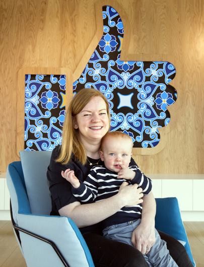 Happy at work: Kate Griffiths and her son Harry at the Facebook HQ in Grand Canal Place. Photo: Tony Gavin