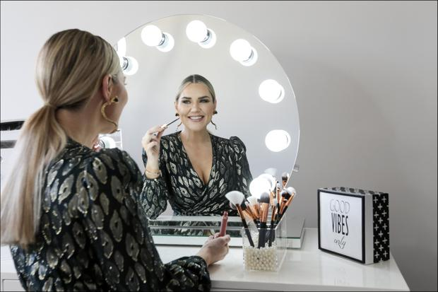 Erin in her beauty room, with its Glam Dolls beauty table