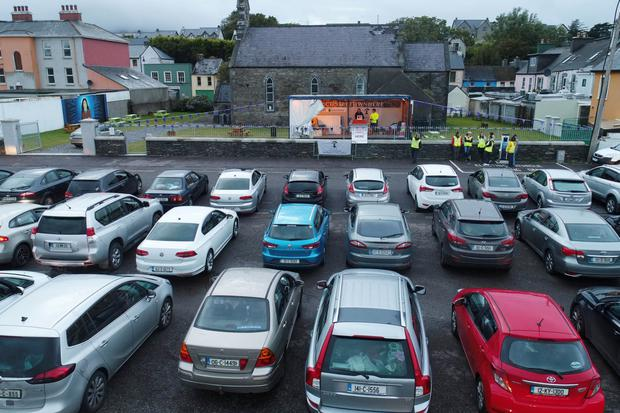 Cars line up facing the specially erected bingo stage