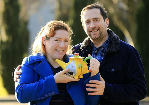 Potty for each other: Tanya Sweeney, with Brian Cregan, who recently got engaged with a teapot proposal. Photo: Gerry Mooney