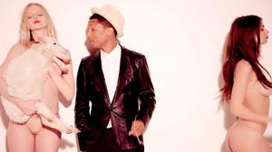 Pharrell Williams in the video for 'Blurred Lines'
