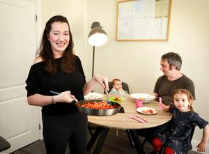 Family time: Michelle Bowe has dinner with her husband Greg and their children Amy (6 months) and Emma (3)