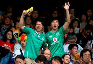 Japanese and Irish fans at the stadium in Yokohama for Ireland's first game versus Scotland. Photo: PA