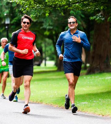 Canadian prime minister Justin Trudeau and Leo Varadkar pictured in 2017 running in the Phoenix Park. Photograph: PA Wire