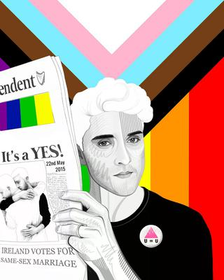 Original artwork by Joe Caslin for Weekend Magazine, five-year anniversary of the Marriage Equality Referendum