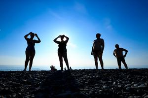 Members of then Bray Beach Bathers group prepare for their daily swim. Photo: Gerry Mooney
