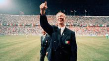 Republic of Ireland manager Jack Charlton celebrates after his side qualified for the knock-out stages of Italia 90