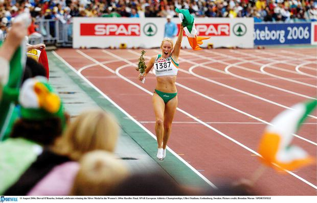 Derval O'Rourke winning silver in the Women's 100m Hurdles at the European Athletics Championships in 2006