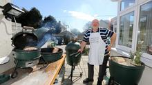 Roger Beck with his 3 Big Green Egg BBQ at home in Limerick City.  Picture: Brian Gavin Press 22