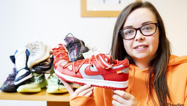 Front runner: Lauren Ryan Fitzgerald with some of her rare trainers. Photo: Don Maloney