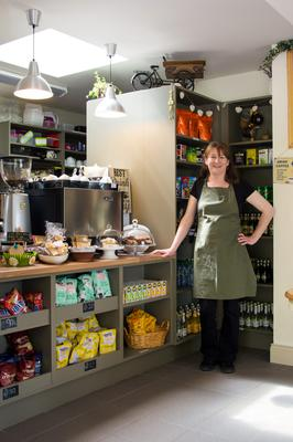 Home comforts: Jenny Murphy opened Pedals and Boots Café alongside the post office she runs with her husband in Lauragh. Photo: Jessica Dennison