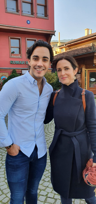 Maia with singer Jake Carter in Turkey shooting 'High Road, Low Road' for RTE