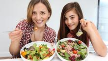 Stella Forte with her Mixed Leaves Salad with Quinoa Goji Berries and Gillian Tsoi with her Tuna Spinach with Tomato, Avacado and Beetroot Salad.
