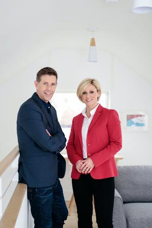 Dermot Bannon with new quantity surveyor Lisa O'Brien of Room to Improve. Photo: Verona McQuaid