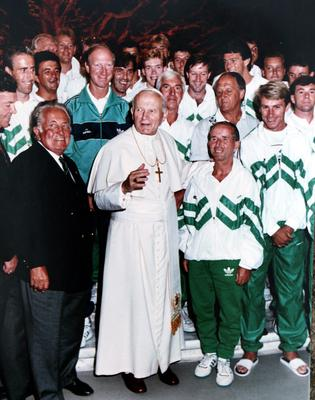 Pope John Paul 11 with Jack Charlton and the members of the Irish soccer squad when they visited him at the Vatican prior to their  quater -final game against Italy in Rome  during  the 1990 World Cup finals held in Italy.
