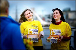 Feeling the pinch: Sinéad Gillespie and Laura McNally during Daffodil Day last year. This year's fundraiser was moved online due to Covid-19, but only raised half the normal amount. Photo by David Conachy