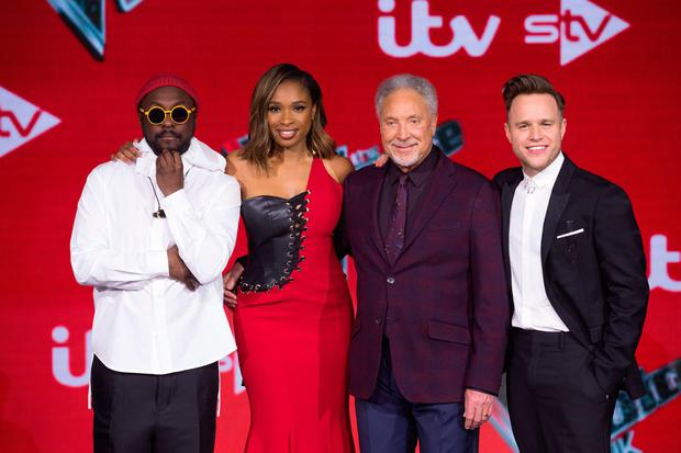 Tom Jones with fellow Voice UK coaches Will.i.am, Jennifer Hudson and Olly Murs in 2019. Photograph: David Parry/PA Wire