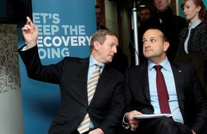 Waiting game: Taoiseach Enda Kenny and  Leo Varadkar at the  launch  during last year's election campaign. Photo: Tom Burke