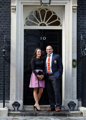 Rory Best with his wife Jodie outside 10 Downing Street during the British and Irish Lions tour in 2013
