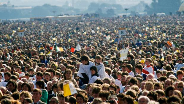 Crowds gather for Pope John Paul II's visit to Ireland
