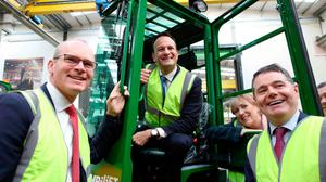 Outrage: pictures of Leo Varadkar posing on a forklift hours after a homeless man was seriously injured by an industrial vehicle removing tents in Dublin were labelled as insensitive  on Twitter