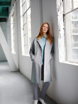 Check coat, €129; blue satin shirt, €49; grey tailored trousers, €79, available February 10; shoes stylist's own