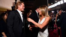 Friends: Brad Pitt and Jennifer Aniston at the SAG Awards on Sunday. Photo: Emma McIntyre/Getty Images for Turner