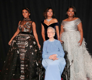 Honoured: Katherine Johnson and stars of 'Hidden Figures.' Photo: Getty Images