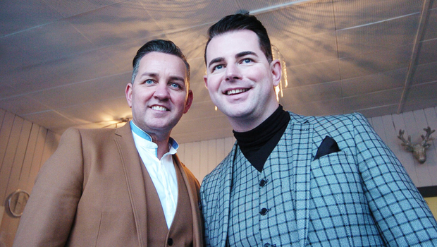 Funky fashionistas: Paul Carroll and Mike McCarthy. Photo: Seamus Farrelly