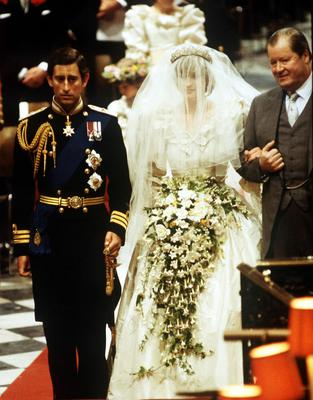 Earl Spencer (R), accompanying his daughter Lady Diana at her wedding to the Prince of Wales, at St Paul's Cathedral, London in 1981.