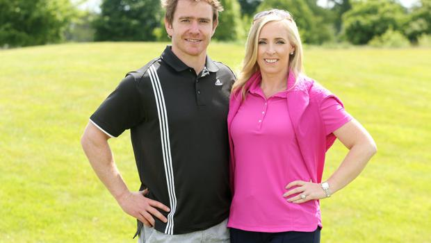 Eoin Reddan and Caroline Harrington at the K Club for the launch of the Golf Classic for the Irish Youth Foundation. Photo: Mark Maxwell
