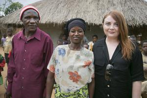 Samantha with Mary Assam Pyson and her husband, Twailu, at their home in Mangochi