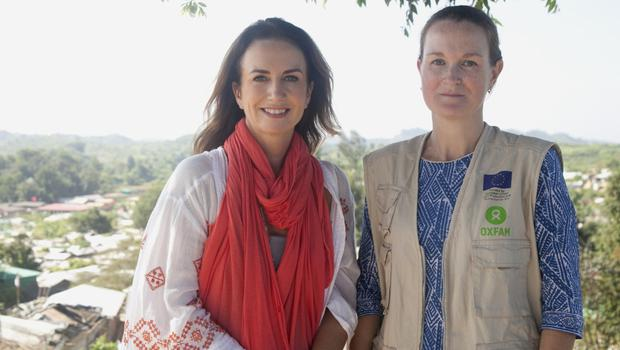 Lorraine with Lizzy Hallinan, who has been working for Oxfam in the camps for almost two years. Supporting women and girls is one of her top priorities