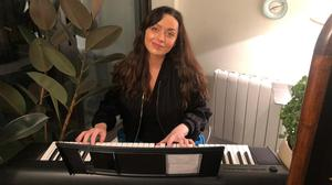 Music magic: Katie Byrne on her digital piano at home