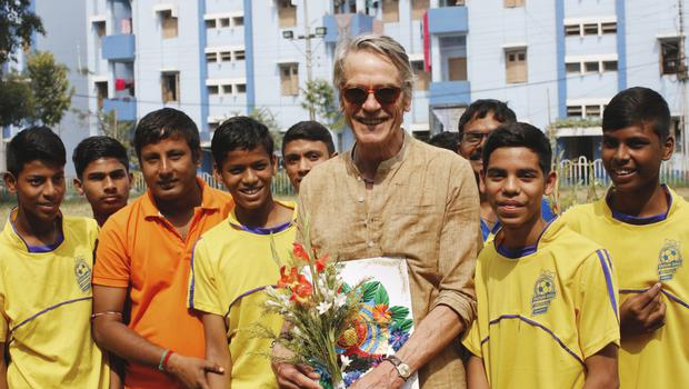 Actor Jeremy Irons, who has been patron of the Hope Foundation for over a decade, is pictured visiting beneficiaries from the Hope Foundation in Kolkata