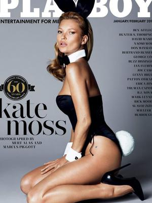 Kate Moss on the cover of Playboy's 60th anniversary edition in 2013