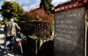 Writing on the wall: A Seamus Heaney quote in Sandycove. Photo: Steve Humphreys