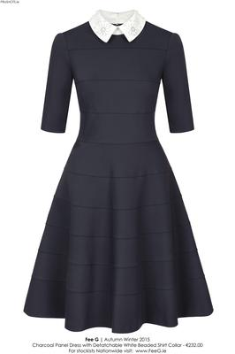 Black dress with beaded Peter Pan collar, €232