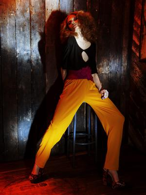 Top, €190; trousers, €390; belt, €350, all Richard Lewis. Shoes, €165, KG by Kurt Geiger, Brown Thomas