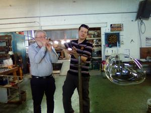 Anthony tries out glass-blowing