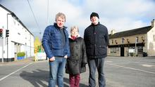 Deserted streets: Michael Plelan, Mary Cashin and Michael Dowling in Ballacolla, Co Laois. Photo: James Flynn/APX