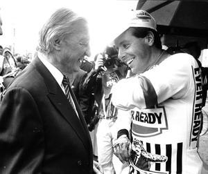Charles Haughey with Roche on the Tour de France podium