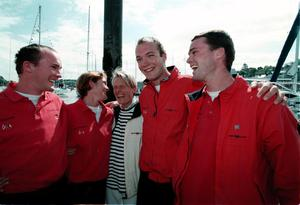 Pauline Coveney welcomes her children Tony, Rebecca, Rory and Andrew on their return to Crosshaven from their round-the-world voyage in aid of the Chernobyl Children's Project in May 1999, a year after their father, Hugh, died. Photo: Michael Mac Sweeney