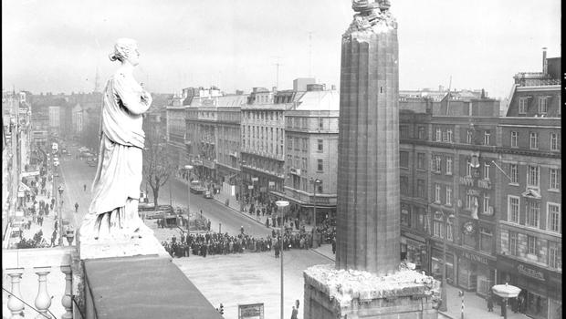 Nelson's Pillar after the explosion, March 1966