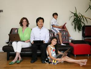 Rhona Gouldson and Archie Chen pictured with their two children, Solomon (10) and Sheba (8)
