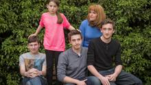 Family matters: Angela Epstein with her four children, Sam, Aaron, Max and Sophie. Photo: Paul Cooper