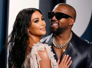 Star couple: Kim Kardashian and Kanye West  in February this year