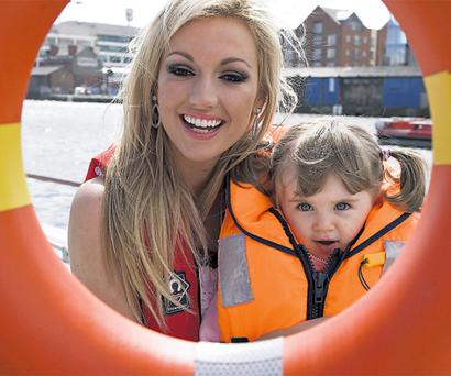 Rosanna Davison with Blaithin O'Hea (2) at Dublin Docklands for the launch of National Water Safety Awareness Week.