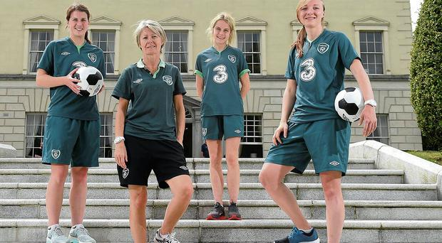 Republic of Ireland's Niamh Fahey, manager Sue Ronan, Julie-Ann Russell and Louise Quinn. Photo Ramsey Cardy/Sportfile