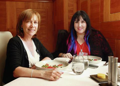 Storytelling: Successful romance author Sheila O'Flanagan enjoys lunch and a natter with interviewer Andrea Smith. Photo: Ronan Temple Lang